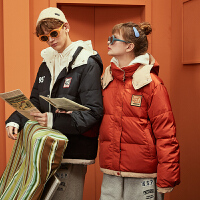 【新品299.9元】唐狮冬季新款情侣装短款羽绒服连帽撞色袖标上衣厚外套学生潮