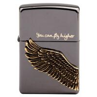 美国芝宝Zippo打火机 黑冰/金色贴章 天使之翼飞的更高