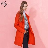 Lily冬新款女装宽松大翻领口袋毛呢大衣116410F1110