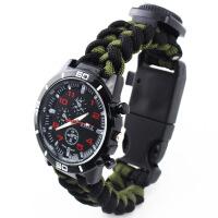 军迷户外生存高品质七芯伞绳编织多功能荒野求生登山手表SN5849