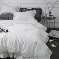 纯色水洗棉绒四件套简约磨毛床裙4件套1.8米公主风套件床上用品