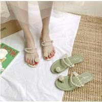 珍珠平底凉拖鞋女时尚外穿新款女士韩版百搭网红夹脚沙滩鞋