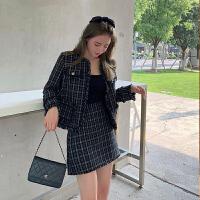【2.5折价305元】唐狮秋季新款小香风套装女气质外套短裙显瘦两套名媛ZW