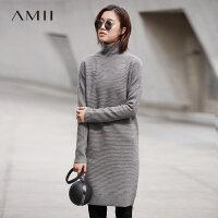 Amii[极简主义]2017秋冬装新款气质半高领套头中长毛衣连衣裙子女