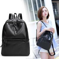 双肩包女韩版潮包包新款气质背包女时尚休闲女包个性书包 黑色