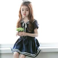 女童连衣裙韩国童装夏款2018新款韩版翻领系带海军风中大童连衣裙