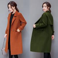 2017秋装新款时尚百搭韩版女装加厚毛呢外套女中长款廓形呢子大衣显瘦潮