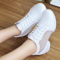 舞蹈鞋真皮女软底透气网面现代中跟跳舞鞋女式春夏广场舞鞋