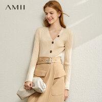 【到手价:133元】Amii超火ins百搭V领毛针织衫女2020春新款修身内搭打底衫开衫毛衣
