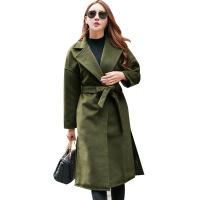 秋冬季中长款毛呢大衣女新款韩版腰带修身开叉大学生妮子外套 军绿色
