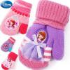 迪士尼儿童手套保暖冬女童苏菲亚全指可爱加厚挂绳宝宝针织毛线