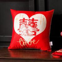 中式红色婚庆结婚喜沙发抱枕婚房床上装饰靠垫靠枕套不含芯正方形T