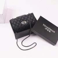 新款时尚女包菱格链条包小香风迷你小包链条包单肩斜挎包 黑色 *品盒