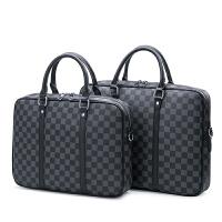 欧美时尚男士包包2018新款手提包电脑公文包商务手提包休闲包挎包 黑格小号
