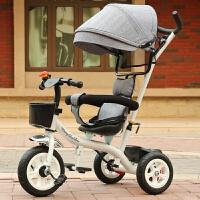 多功能儿童三轮车手推车1-5岁宝宝脚踏车小车自行车玩具车钛空轮 深灰色 白色钛空轮灰蓬