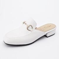 ELEISE美国艾蕾莎新品098-2060学院超纤皮低跟女士凉拖鞋