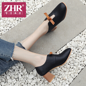 ZHR2018秋季新款韩版奶奶鞋粗跟单鞋复古休闲鞋方头高跟鞋女鞋子
