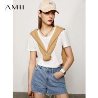 Amii黑科技小冰T恤2021年夏季新款丝光纯棉紫色短袖休闲上衣女潮