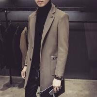 男士秋冬季风衣韩版青年呢子外套潮流帅气中长款毛呢大衣加厚冬装
