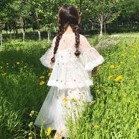 夏装女装韩版气质中长款蕾丝吊带打底裙连衣裙长裙+花朵刺绣外搭