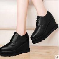 古奇天伦新款春夏季单鞋女鞋松糕厚底坡高跟防水台布洛克皮鞋JRT8571