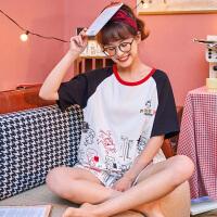 小情歌纯棉睡衣女夏季圆领短袖短裤薄款卡通涂鸦可爱少女两件套装居家服JBEK2061