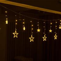 新款圣诞装饰五星窗帘灯4.3米串灯挂饰场景装饰LED发光装饰品
