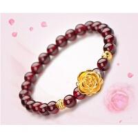 经典女式首饰品 貔貅苹果玫瑰花转运珠 石榴石手链 红色 玫瑰花手链单圈