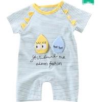 婴儿夏季爬服男女宝宝3-6-12个月新生儿条纹短袖连体衣薄款夏装潮