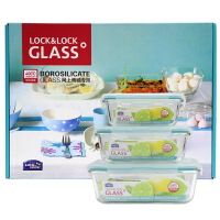 [当当自营]LOCK&LOCK乐扣 格拉斯耐热玻璃保鲜盒3件套LLG445S909