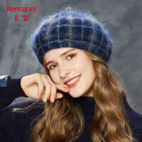 卡蒙格子画家帽女文艺英伦秋季软妹贝雷帽兔毛复古毛帽子冬针织帽2638
