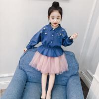女童套装春秋装新款韩版潮童装中大童儿童牛仔上衣裙子两件套