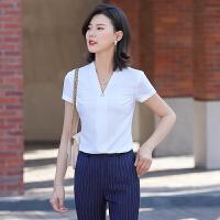 正装白衬衫女设计感小众v领白色衬衣短袖修身薄款职业装ol工作服