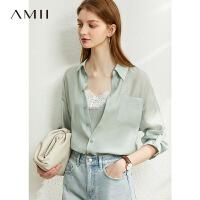 Amii莱赛尔纤维假两件白色衬衫女2021年早春新款宽松蕾丝长袖上衣