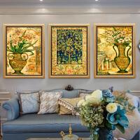 客厅装饰画沙发背景墙挂画花开富贵简约大气欧式饭厅美式卧室壁画 80*105 整套价格 金框