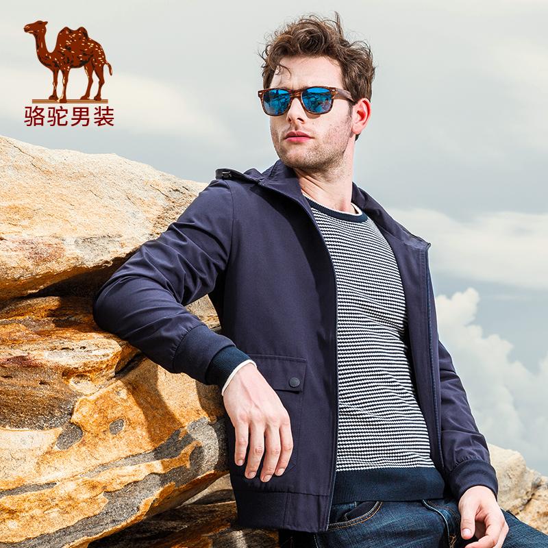 骆驼男装 秋季新款男青年商务休闲纯色长袖夹克外套衫