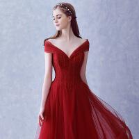2018新款韩式长款婚纱礼服 修身红色一字肩晚宴晚礼服新娘敬酒服