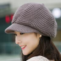 帽子女秋冬季八角帽针织毛线帽冬天保暖时尚贝雷帽韩版百搭兔毛帽