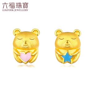 六福珠宝zing可爱小熊珐琅黄金耳钉耳环不对称耳饰GDGTBE0011