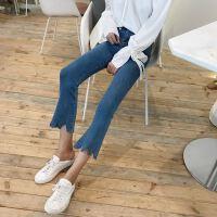 新款c风裤子高腰修身显瘦牛仔裤女七分铅笔裤喇叭裤