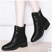 古奇天伦新款潮韩版百搭女鞋子秋冬季女靴子平底马丁靴英伦风粗跟短靴