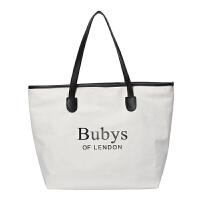 单肩大包包女2018新款潮韩版帆布大容量时尚复古手提子母包托包
