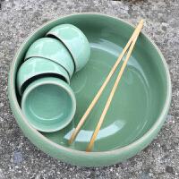 龙泉青瓷大号茶洗功夫茶具配件大码笔洗茶道摆件水洗茶碗茶筒