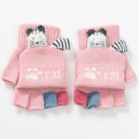 3456岁针织毛线儿童手套冬天女孩可爱保暖写字露半指小孩手套冬季