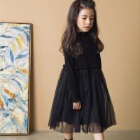 女童连衣裙秋冬新款韩版童装中大儿童长袖纯棉网纱蓬蓬公主裙