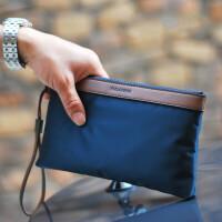 男士手包大容量手拿包韩版帆布包休闲男包手腕包手机包牛津布尼龙 蓝色