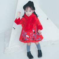 女宝宝唐装冬装中国风1-3岁7女童旗袍连衣裙冬毛呢女宝公主新年装