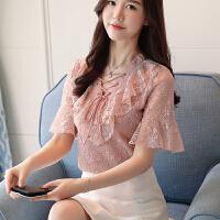 雪纺蕾丝衬衫女2018夏季新款百搭时尚修身系带蕾丝衫女短袖V领上衣打底衫