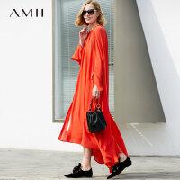 Amii极简仙气法式少女原宿复古2018新款连衣裙秋红色雪纺长连衣裙