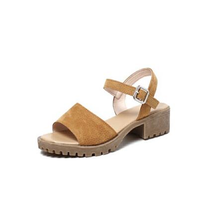 ELEISE美国艾蕾莎新品020-A52日系超纤皮高跟粗跟女士凉鞋